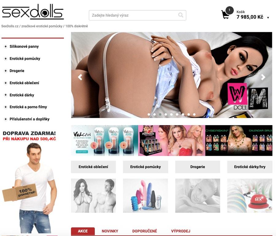 Sexdolls.cz - recenze - hlavní stránka obchodu