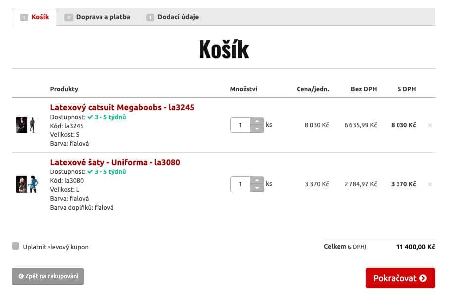 Košík sexshopu MHsexshop.cz