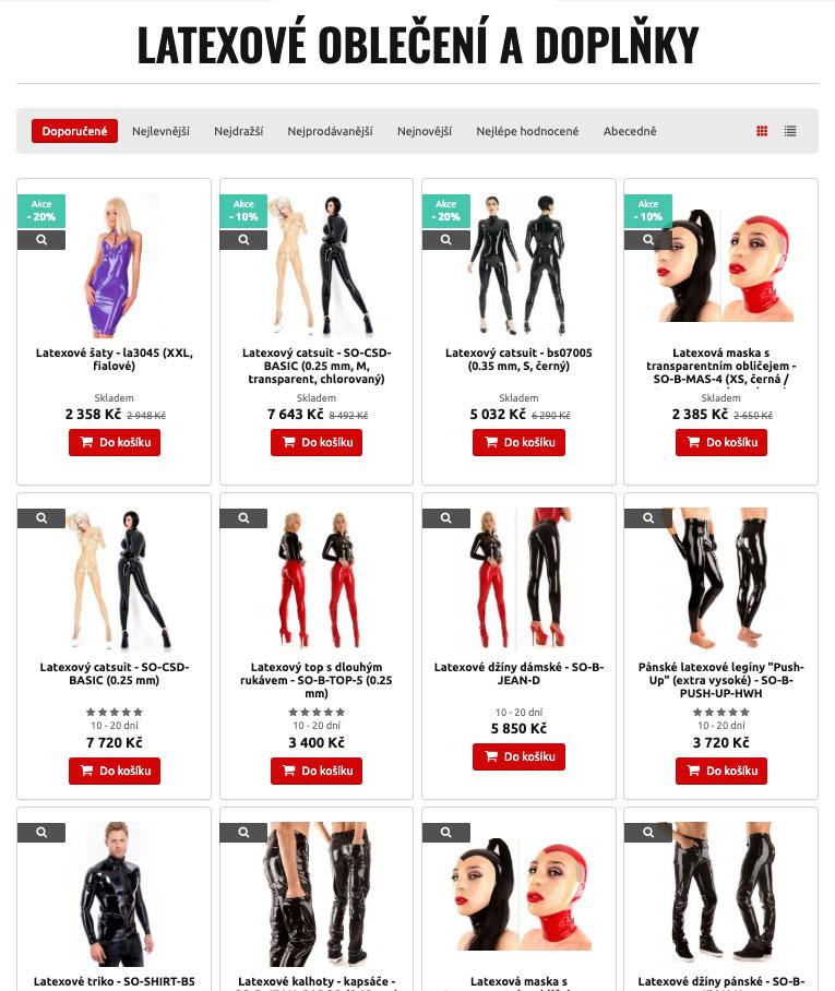 Nabídka latexového fetiš oblečení od MHsexshop