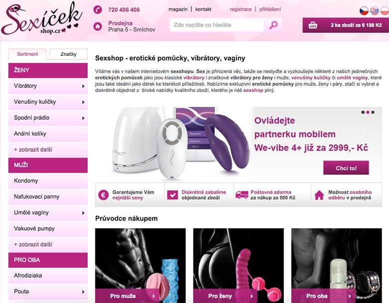 Velikost nabídky erotických hraček u Sexíčekshop.cz