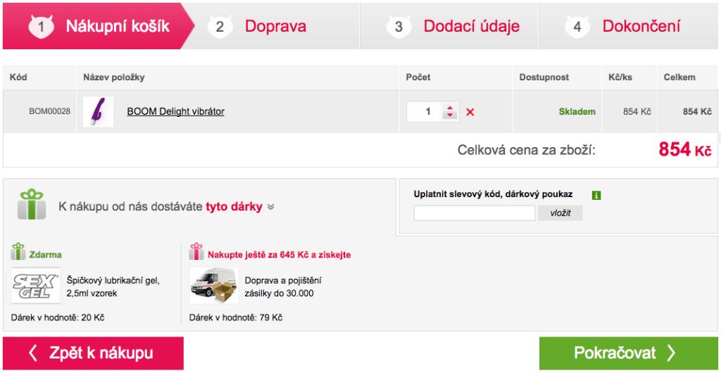 Sexshop.cz s nákupním košíkem